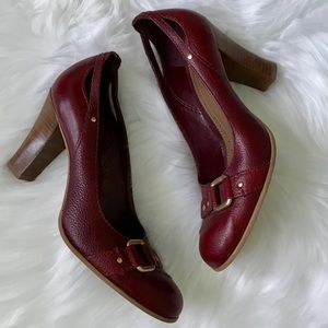 Franco Sarto Burgundy Chunky Heel Shoes Round Toe